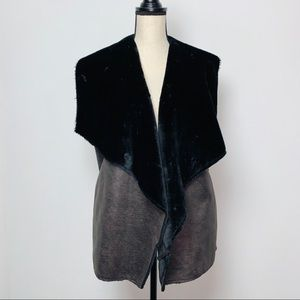 Nine West Black Faux Fur Draped Vest Large